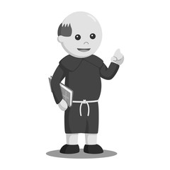 Christian monk holding bible black and white style