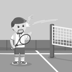 Tennis player hit by a ball black and white style