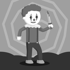 Evil clown holding bloody knife black and white style