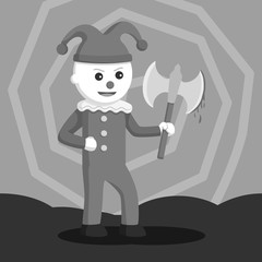 Evil clown holding bloody axe black and white style