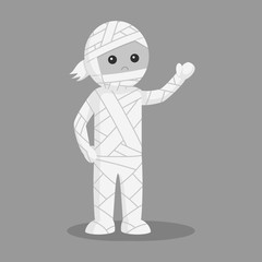Man in mummy costume black and white style