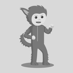 Man in werewolf costume black and white style