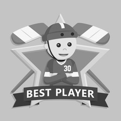 Hockey player in star emblem black and white style
