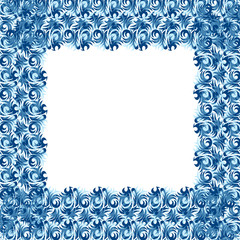 Festive Christmas frame of blue snowflakes on a white background for photos, design and covers