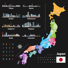 vector illustration of Japanese flag and prefectures map colored by regions. Largest city skylines, navigation, location, and travel icons