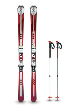 ski and sticks - winter mountain equipment - vector isolated illustration