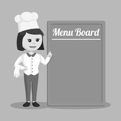 Chef woman with menu board black and white style