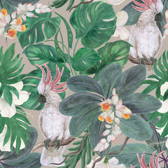 Watercolor painting seamless pattern with white cockatoo birds and ginger, hibiscus tropical flowers, leaves
