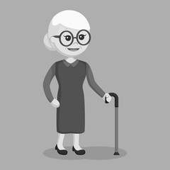 Old woman with walking stick black and white style