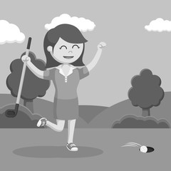 Golfer woman happy making score black and white style