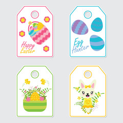 Cute bunny, flowers, and colorful egg vector cartoon illustration for Easter gift tags design, postcard and sticker set