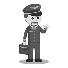 Pilot with briefcase illustration design black and white style