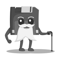 Diskette character illustration design black and white style