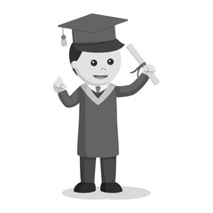 Graduate male student holding diploma black and white style