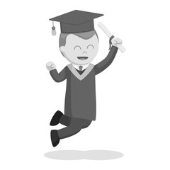 Graduate male student jumping excited black and white style