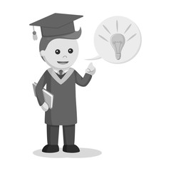 Graduate male student with idea callout black and white style