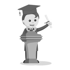 Graduate male student giving speech black and white style