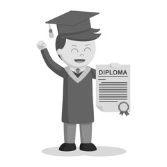 Graduate male student showing his diploma black and white style