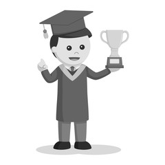 Graduate male student with trophy black and white style