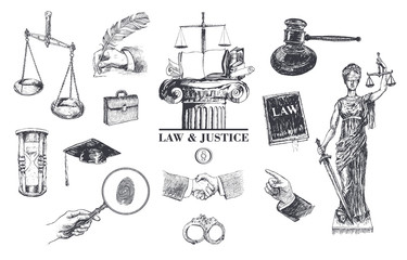 Law and justice set. Lawbook, handcuff, judge gavel, scales, paper, briefcase, themis, pointing hand, hand gestures, lawyer mortarboard hat, hourglass, magnifying glass. Vector handdrawn lineart