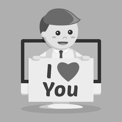 Businessman with love email pc pop up black and white style