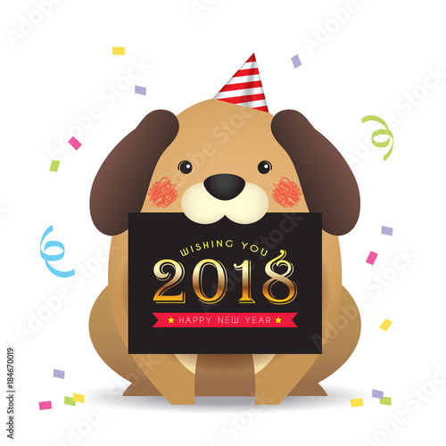 2018 new year template design cute cartoon dog with new year greetings card isolated on