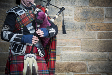 Playing the bagpipes on streets of Edinburgh Wall mural
