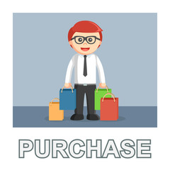 Businessman purchase photo text style