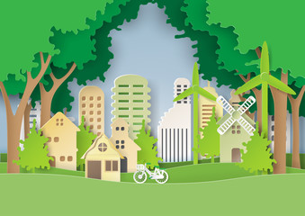 Green eco friendly and save the world concept design.Urban countryside and cityscape of environment conservation paper art style.Vector illustration.