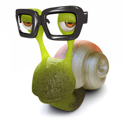 3d Funny cartoon snail wearing glasses