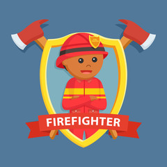 African firefighter in emblem