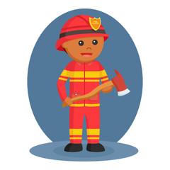 African firefighter wielding axe