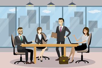 Business people in Cartoon Modern office