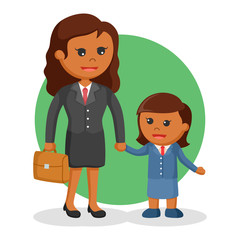 African mom and daughter dressed as businesswoman