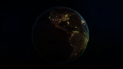 3D rendering Earth from space against the background of the starry sky. Shadow and illuminated side of the planet with cities