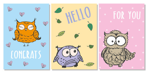 Cute hand drawn greeting cards with owls