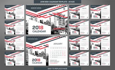 Desk Calendar 2018 template - 12 months included