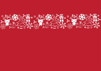 White and red seamless border, Christmas design for greeting card.