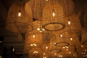 Thai wooden lantern retro decoration design in Asian style