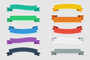 Flat stickers vector ribbons in flat color on gray background. Vector illustration