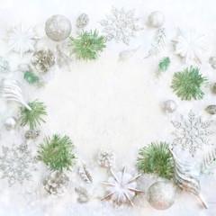 Christmas festive arrangement of decorative elements.