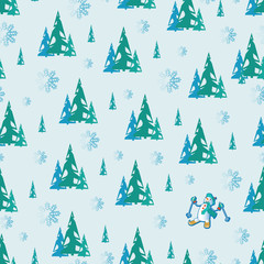 Winter forest and snowman. Seamless pattern. Design for children's textiles and packaging materials, background image with a character from cartoons.