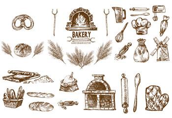 Digital vector detailed line art bakery