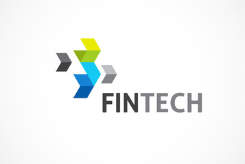 Logo concept for fintech and digital finance industry