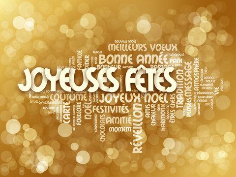 """Nuage de Tags """"Joyeuses Fêtes"""" avec traductions"""