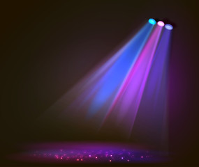 Obraz Background image of spotlights with stage in color  - fototapety do salonu