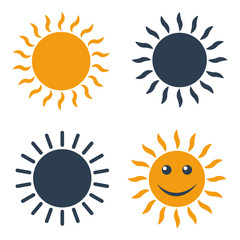 Sun icons on white background.