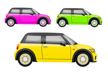 realistic compact car in vector on white background
