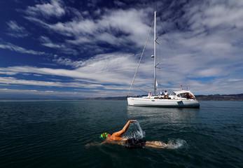 Swimmer Whitehead swims a 70 km relay across Lake Leman in Veytaux