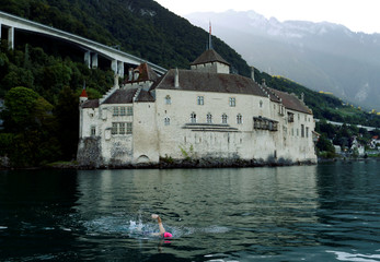 Swimmer Whitehead starts his attempt to swim a 70 km relay across Lake Leman in Veytaux